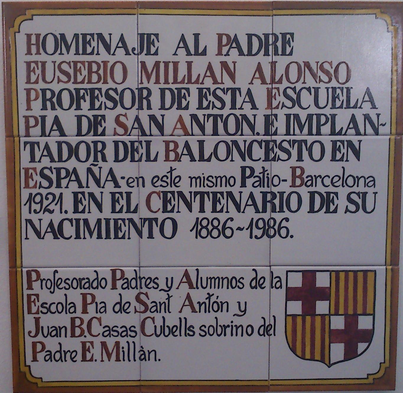 1986 placa homenatge Eusebio Millan